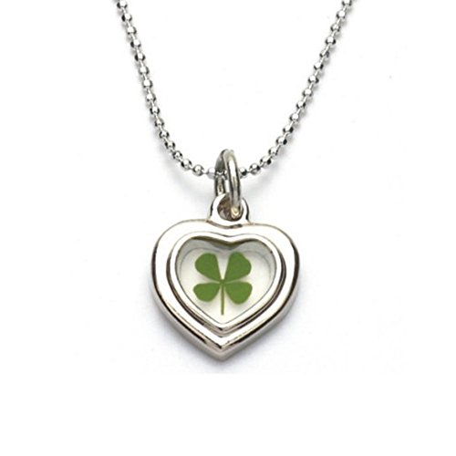 Real Clover (Stainless Steel Real Irish Four Leaf Clover Heart Shaped Pendant Necklace, 16-18 inches)