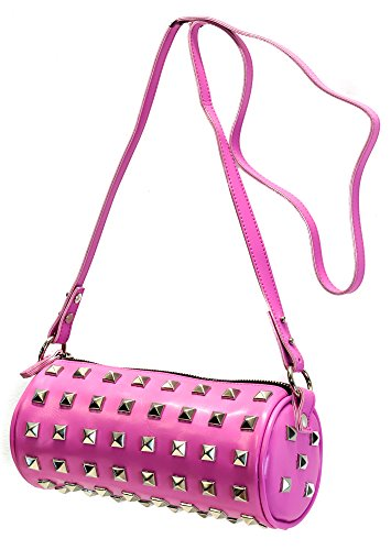 (Pyramid Stud Barrel Bag Halloween Punk Gothic By Addicted (Pink))