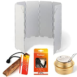 Backpacking Stove Accessory Kit - Includes Foldable Aluminum Windscreen, Brass Alcohol Burner, Swedish Firesteel, Fatwood Tinder. (B00BJEGBS6) | Amazon price tracker / tracking, Amazon price history charts, Amazon price watches, Amazon price drop alerts