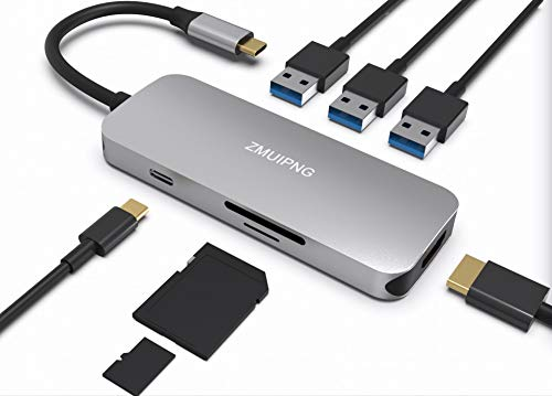 USB C HDMI Card Reader Powered Hub Adapter for MacBook Pro 2018/2017, MacBook Air 2018, 7 in 1 USBC Type C Dongle with SD/Micro SD Card Reader, 4K HDMI, 3 USB 3.0 Ports, USB C Power Pass-Through Port