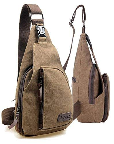 Outdoor Men Women Small Running Bag Canvas Sling Messenger Chest Bag Backpack Shoulder Travel Bags ()