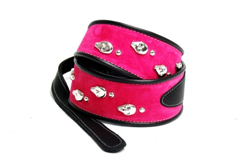 Jodi Head Hot Pink Suede with Silver Skull Rivets & Adjustab