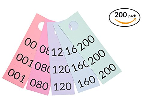 Multi-Part Live Sale Tags and Coat Checks with Normal and Reverse Mirror Image Numbers - Set of 200 (001-200)