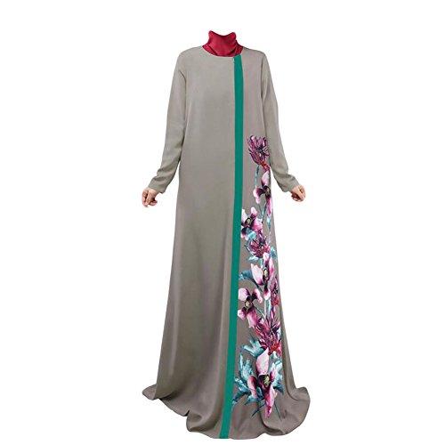 5d3cce0841 Meijunter Muslim Lange Ärmel Druck-Kleid Abaya Arab Robe Damen Cocktail  Bekleidung Gray hXMx2uWN1
