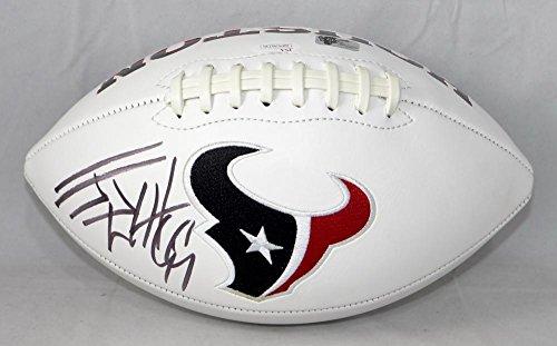 - JJ Watt Autographed Houston Texans Logo Football with JSA Witnessed Auth