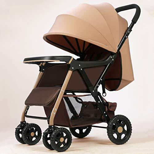 JIAX 2 in 1 Baby Stroller, High Landscape Infant Stroller & Reversible Pram, Foldable Pushchair with Adjustable Canopy, Storage Basket,5-Point Harness (Color : Style 1)