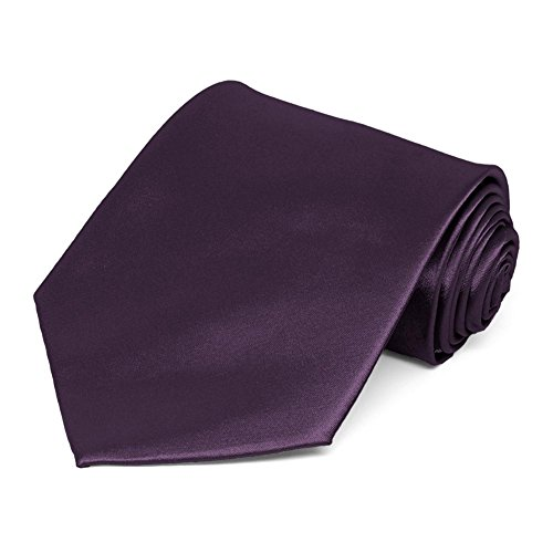 TieMart Eggplant Purple Solid Color Necktie from tiemart