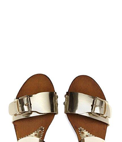 PoiLei Damen Plateau Riemchen-Sandalette mit Keilabsatz Letizia Echt-Leder gold