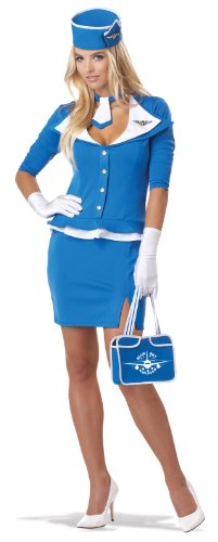 Retro Costumes (California Costumes Women's Retro Stewardess Adult, Blue,)