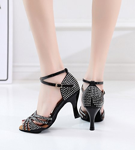 Rumba Shoes Synthetic Salsa Joymod Wrap Sandals Dance Ankle Wedding Party 7 MGM 5cm Studded Peep Toe Evening Black Samba Crystals Heel Tango Women's PgSWxqw86