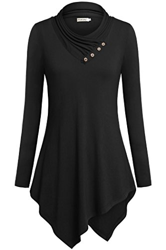 [Plus Size Tunics For Women,Ouncuty Cowl Neck Long Sleeves Fashion Sexy Black XL] (Plaid Cowl Neck)