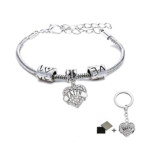 See Bello Family Bracelets Grandmother Mother Daughter Aunt Niece Sister Crystal Heart Charm Pendant Hope Blessed Believe Best Friend My Girl Bracelet Cuff for Women Girls