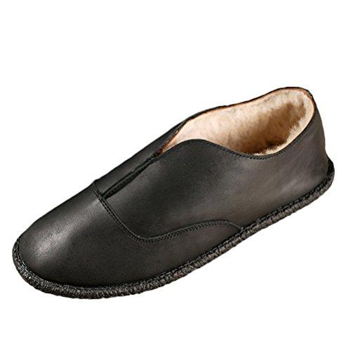 Mordenmiss Womens Shearling Slip On Indoor Outdoor Moccasin Flats Velvet Warm Slippers Black JW4hgw