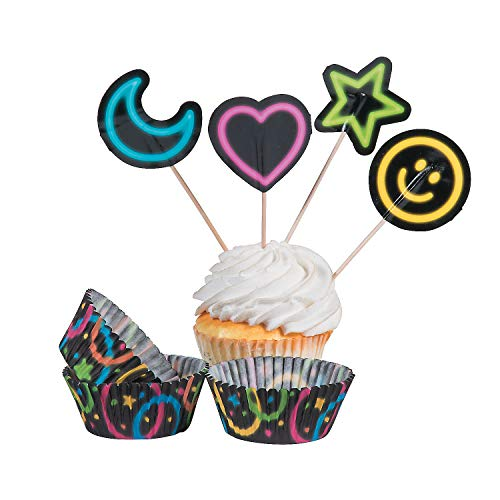 - Fun Express - Neon Glow Party Cupcake Wrappers W/picks for Birthday - Party Supplies - Serveware & Barware - Misc Serveware & Barware - Birthday - 100 Pieces