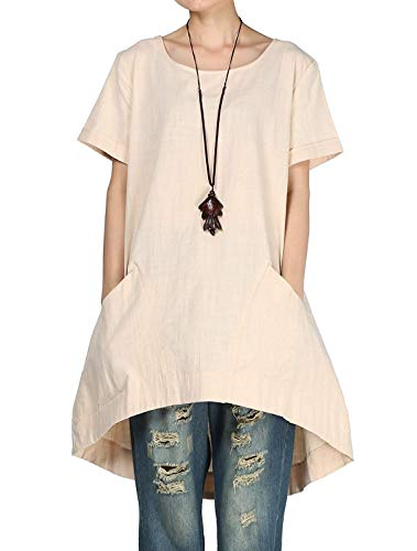 Mordenmiss Women's Cotton Linen Tunic Tops Hi-Low Dresses with Pockets (M, -