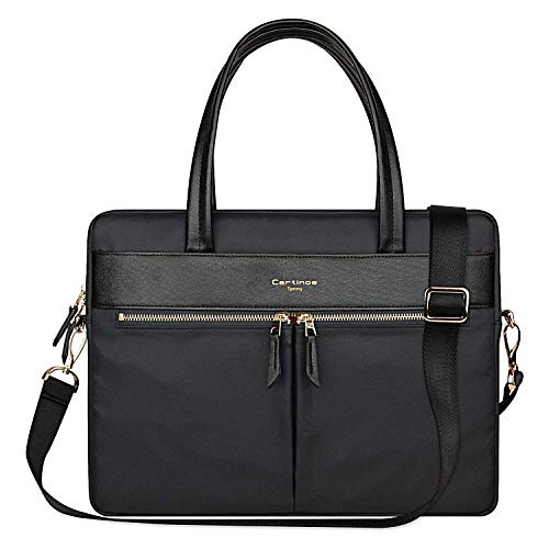 Cartinoe Laptop Tote Bag, Women Waterproof Laptop Bag Briefcase RFID Blocking Ultrathin Nylon Business Ladies Work Handbag Shoulder Messenger Carrying Bag for 14 15 inch MacBook Ultrabook, Black ()