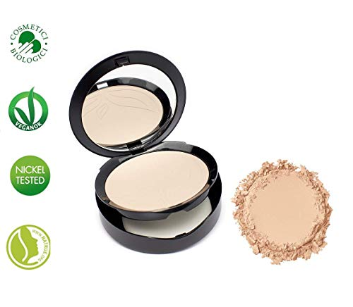 PuroBIO Certified Organic Compact Foundation with Anti-Aging & Mattifying properties, NO 02 Light/Medium Skin Tones. With Plant Oils,Shea Butter, Vitamins. ORGANIC. VEGAN, NICKEL TESTED. MADE IN ITALY