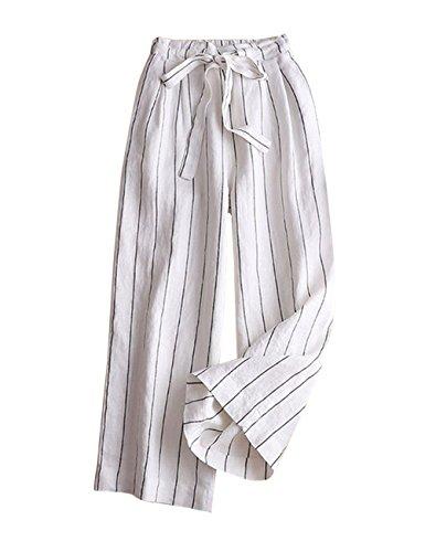 IXIMO Women's Wide Leg Pants 100% Linen Striped Capri Trousers Drawstring Back Elastic Waist Palazzo Pants White L ()