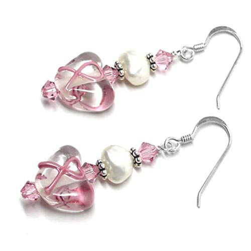 Pink Ribbon Breast Cancer Awareness Earrings Clear Heart Lamp Work Glass Cultured Freshwater Pearl Sterling Silver Custom (Pearl Silver Hook Vermeil Earrings)