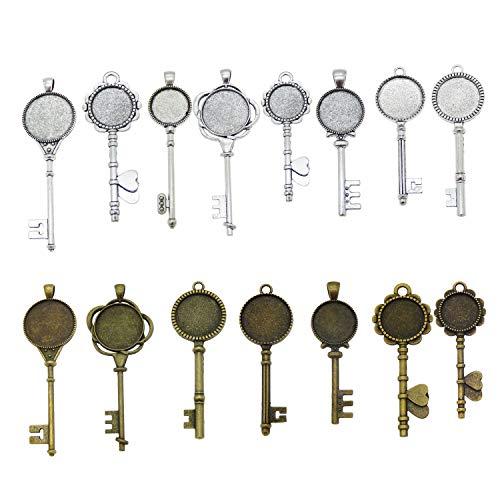 - 12 Pcs Assorted Skeleton Key Bronze Silver Setting Pendant Tray Bezel Blanks for Jewelry Making