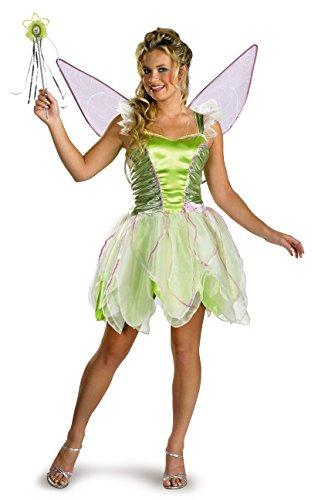Adults Halloween Tinkerbell Costumes (Disguise Women's Disney Fairies Tinker Bell Deluxe Costume, Green, Women)