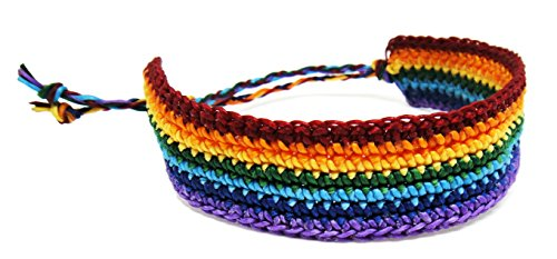 Pride LGBT Gay Bracelet - GLBT Rasta Cotton Wristband for Unisex