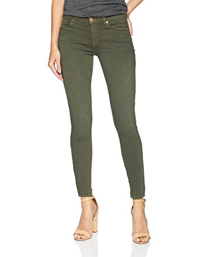 7 For All Mankind Women's Ankle Skinny Sandwashed Twill Jean, Army, 27 (All Skinny Mankind 7 Jeans)