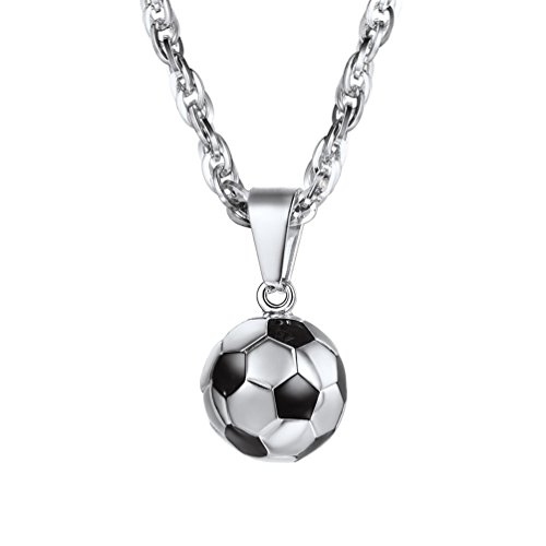 - PROSTEEL Soccer Necklace Sports Jewelry Stainless Steel Mom Dad Men Women Unisex Football Player Gift Lucky Charm Ball Pendant Necklace