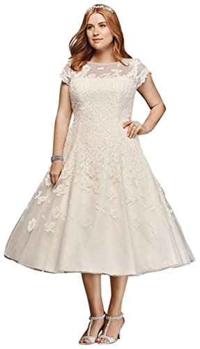David's Bridal Plus Size Oleg Cassini Cap Sleeve Tea Length Wedding Dress Style 8CMK513.