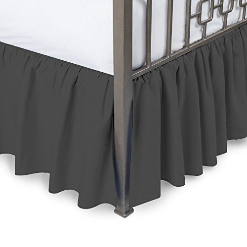 MP Linen Hotel Quality 750TC 1pc Dust Ruffle Bed Skirt With Split Corner 18'' Inch Drop Length 100% Egyptian Cotton ( Twin-Xl Size , Dark Grey Solid ) (Ruffle Drop Twin Dust 18')