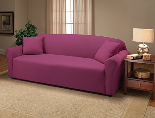Madison Stretch Jersey Purple Sofa Slipcover, Solid