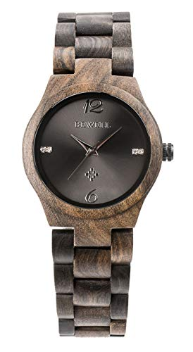 - Handmade Wood Watch for Man or Woman - OMELONG Lightweight Wooden Wrist Watch with Japan Quartz Movement Gold Circles on Round Dail (Black 1)