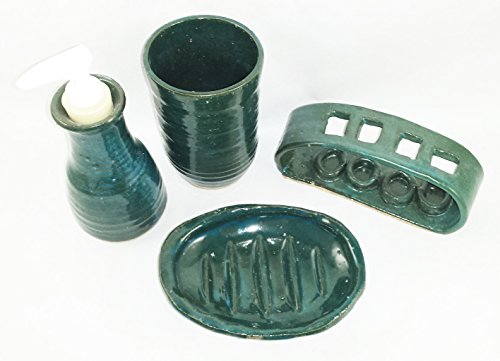 Aunt Chris' Pottery - Hand Made Clay - 4 Piece Bathroom Set - Green Color Glazed - Cup, Lotion Pump, Soap Dish & Toothbrush Holder - Primitive Style - Very Unique - Only Available Here On Amazon!