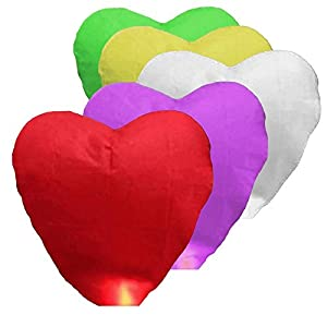 Alrens_DIY(TM) 15 Pcs Love Heart Shaped Chinese Sky Fly Fire Paper Lanterns Wish Balloon Wishing Lamp for Wedding Birthday Christmas Party - Random Assorted Color