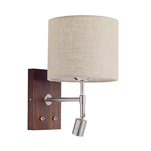Wall lamp Bracket Light Sconces Bedside Reading lamp led Bedroom Living Room Aisle Simple Modern Nordic with Switch line Solid Wood Wall Walnut (Wall Bracket Fixture Walnut)
