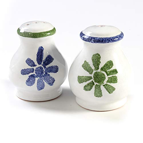 Tuscan Dinnerware - Olive Green Salt & Pepper Shaker from the Toscana Collection - Rustic Tuscan Kitchen Décor, Country Rustic Dinnerware Hand Painted & Handmade in Italy, Tuscan Sale & Pepe Shaker
