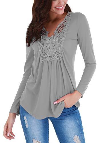lace insert blouse - 9
