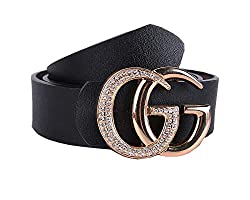 Womens Black Leather Belt With Double G Buckle For Trouser Dress Jeans Black Pants Size 36 39