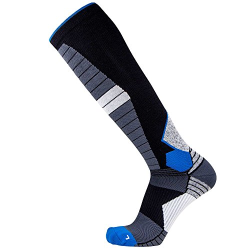 Thermal Compression Ski Socks – Warm Socks for Skiing and Snowboarding (L, (Blue Snowboarding Ski)