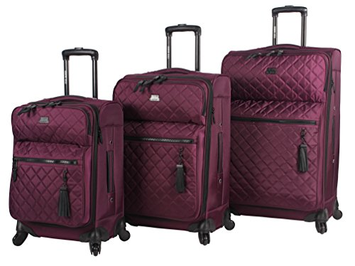 Steve Madden Luggage 3 Piece Softside Spinner Suitcase Set Collection (One Size, (Collection 5 Piece Luggage Set)