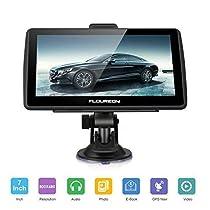 FLOUREON 7 inch Capacitive LCD Touch Screen Truck&Car GPS Navigation SAT Nav Navigator Lifetime Map Updates 8GB