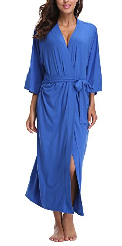 Cotton Kimono Wrap (WitBuy Women's Soft Kimono Robe Long Modal Cotton Wrap Robe Lightweight Knit Bathrobe Royal Blue XL)