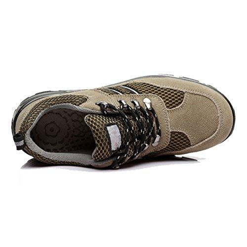 NiSeng Hombres cuero de imitación botas de seguridad para invierno casual zapatos deportivos Caqui