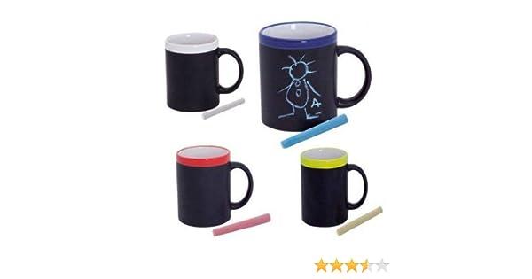 DISOK Lote de 12 Tazas Pizarra de Cerámica Ideales para Desayuno, en Caja de Regalo. Tazas Infantiles para Colorear con tizas, Pinturas. Regalos para ...