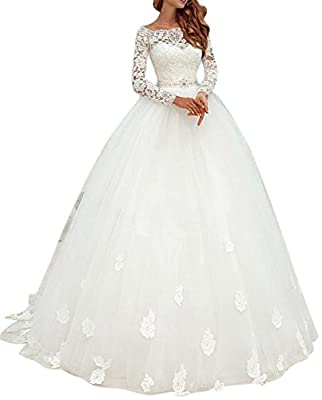Ethel Women's Appliques Lace Top Ball Gown Wedding Dresses with Long Sleeves