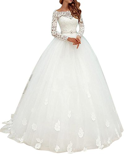 Ethel Women's Appliques Lace Top Ball Gown Wedding Dresses with Long Sleeves,White,10