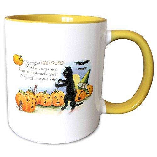 3dRose BLN Vintage Halloween - Vintage Sing a Song of Halloween Black Cat Bats and Jack O Lantern Pumpkins - 15oz Two-Tone Yellow Mug (mug_126093_13) -