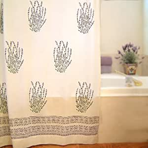 Lavender Dreams ~ French Provence White Fabric Shower Curtain 72x72