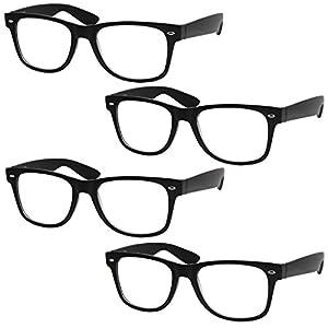 4 Pairs Deluxe Wayfarer Style Reading Glasses - Standard Fit Spring Hinge Readers Black/+1.00