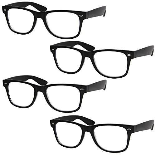 4 Pairs Deluxe Wayfarer Style Reading Glasses - Standard Fit Spring Hinge Readers - Styles Wayfarer